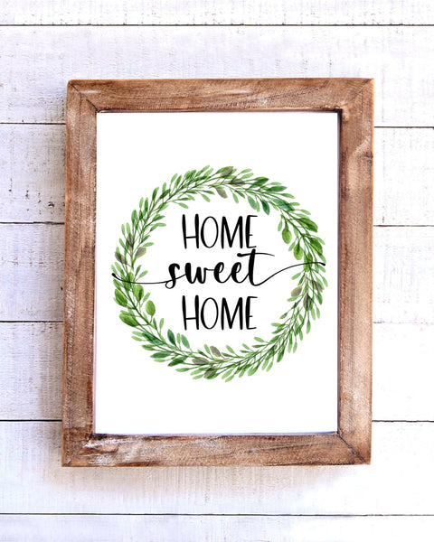 """Home Sweet Home"" Farmhouse Wreath Printable Wall Art"