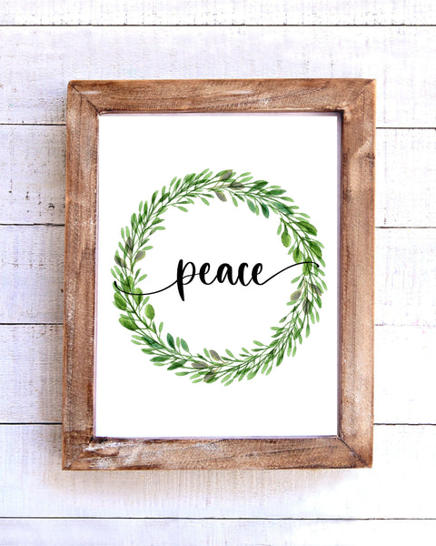 """Peace"" Farmhouse Wreath Printable Wall Art"