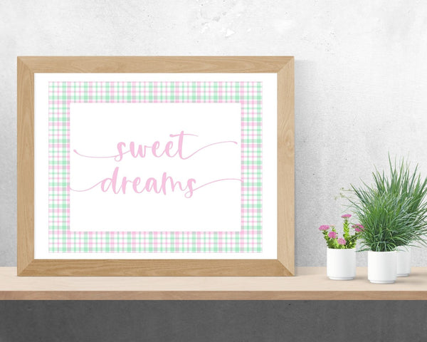 """Sweet Dreams"" Pink Plaid Nursery Printable Wall Art"