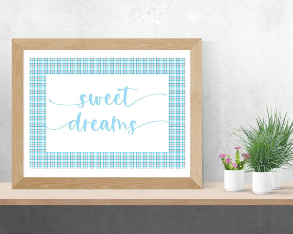 """Sweet Dreams"" Light Blue Plaid Nursery Printable Wall Art"