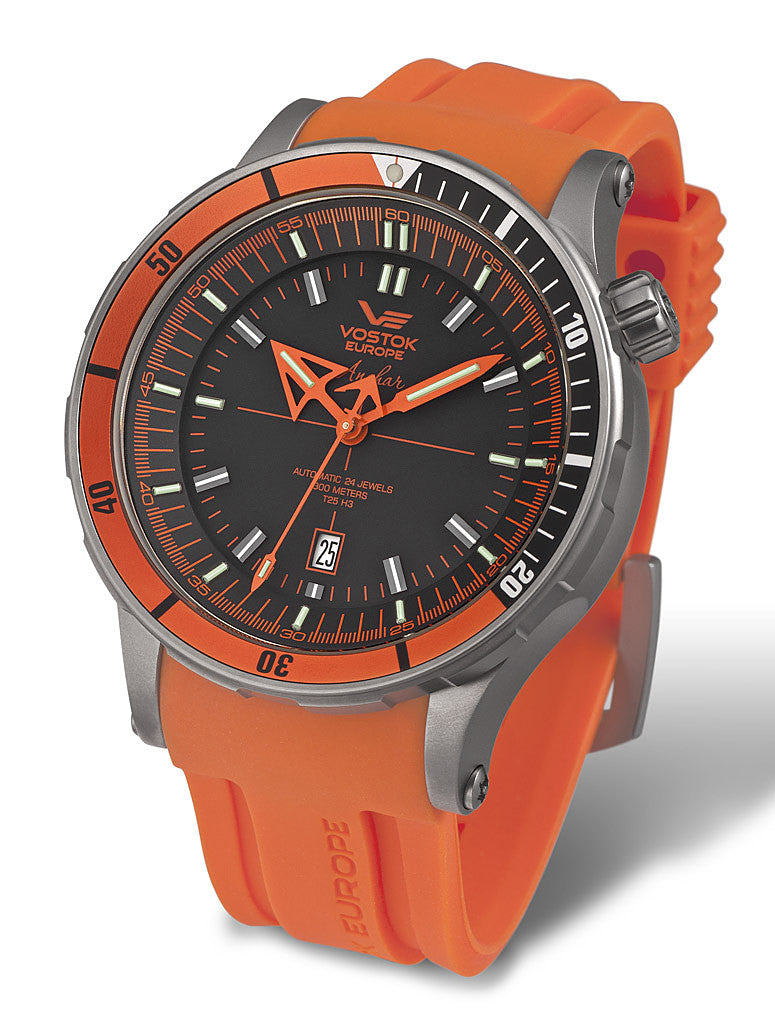 orange silicone strap and black leather strap