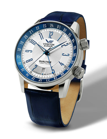 on blue leather strap