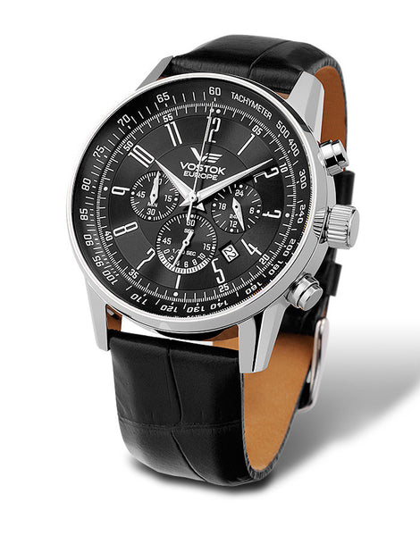 on black leather strap