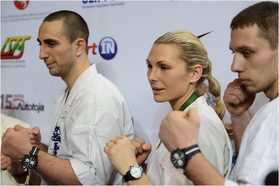 Karate world championship contenders wearing Vostok_Europe Expedition watches