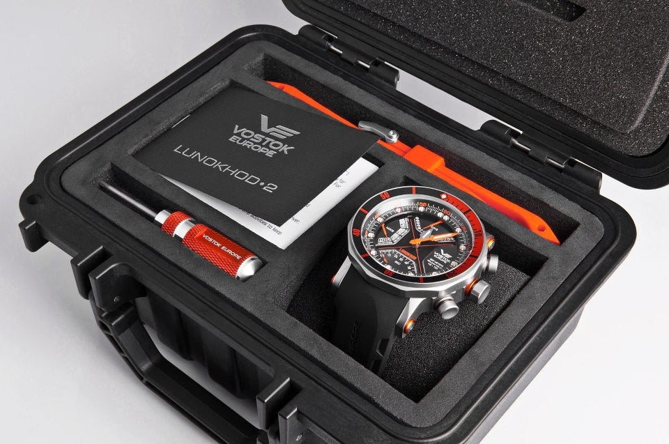 BONUS Dry Box (shock resistant and waterproof) with extra band and screw driver - shown with Lunokhod Multi watch
