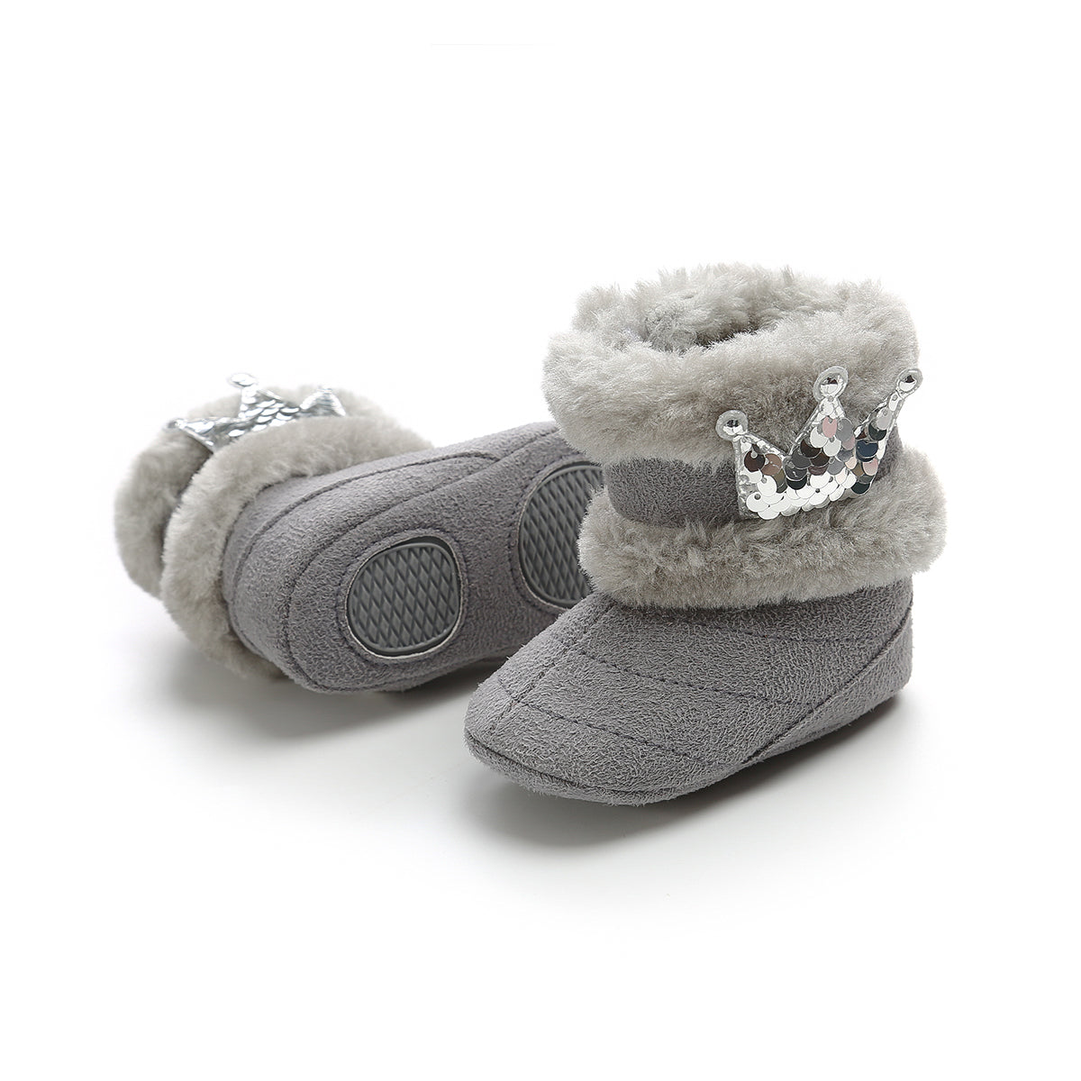 Princess Crown booties - Grey