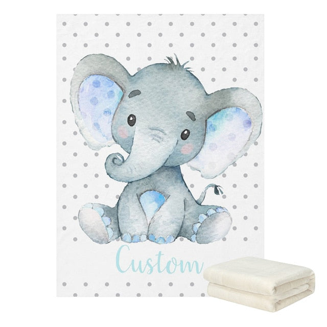 Personalised Baby Elephant Blanket - 10 Styles (Custom Name)