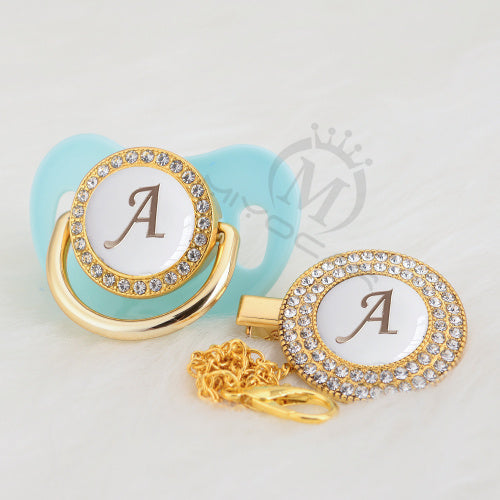 Custom Initials - Hand Made Pacifier & Clip Set )