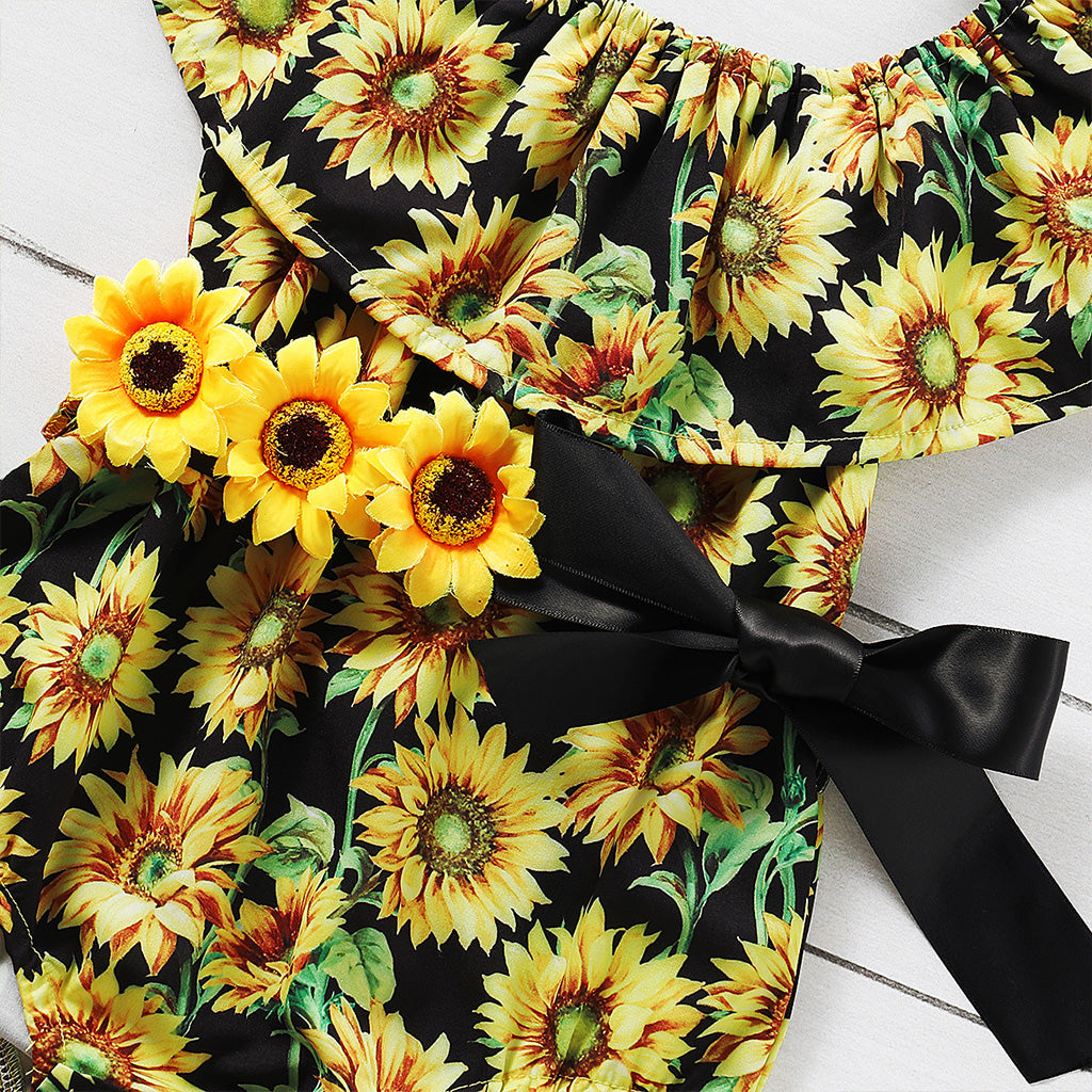 3 Piece Sunflower Romper Set (0-2yrs)