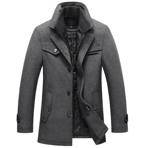 Winter Wool Coat Slim Fit Jackets Mens Casual Warm Outerwear Size M-4XL