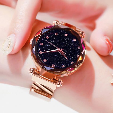 Rose Gold Mesh Magnet Buckle Starry Quartz Watch Geometric Surface