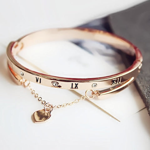 Rose Gold Stainless Steel Bangles Female Heart Forever Love