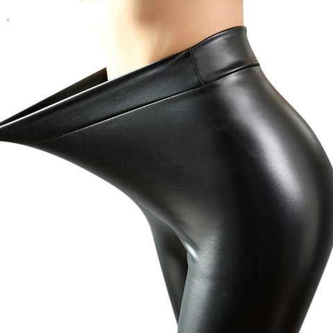 Fashion Women PU Leather Pants High Elastic Waist Leggings