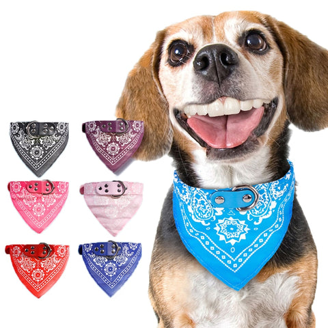 Adjustable Dog Bandana Leather Printed Soft Collar For dog