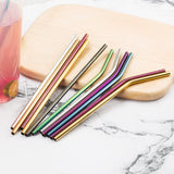 Colorful Stainless Steel Straws Reusable With Cleaner Brush (304 units)