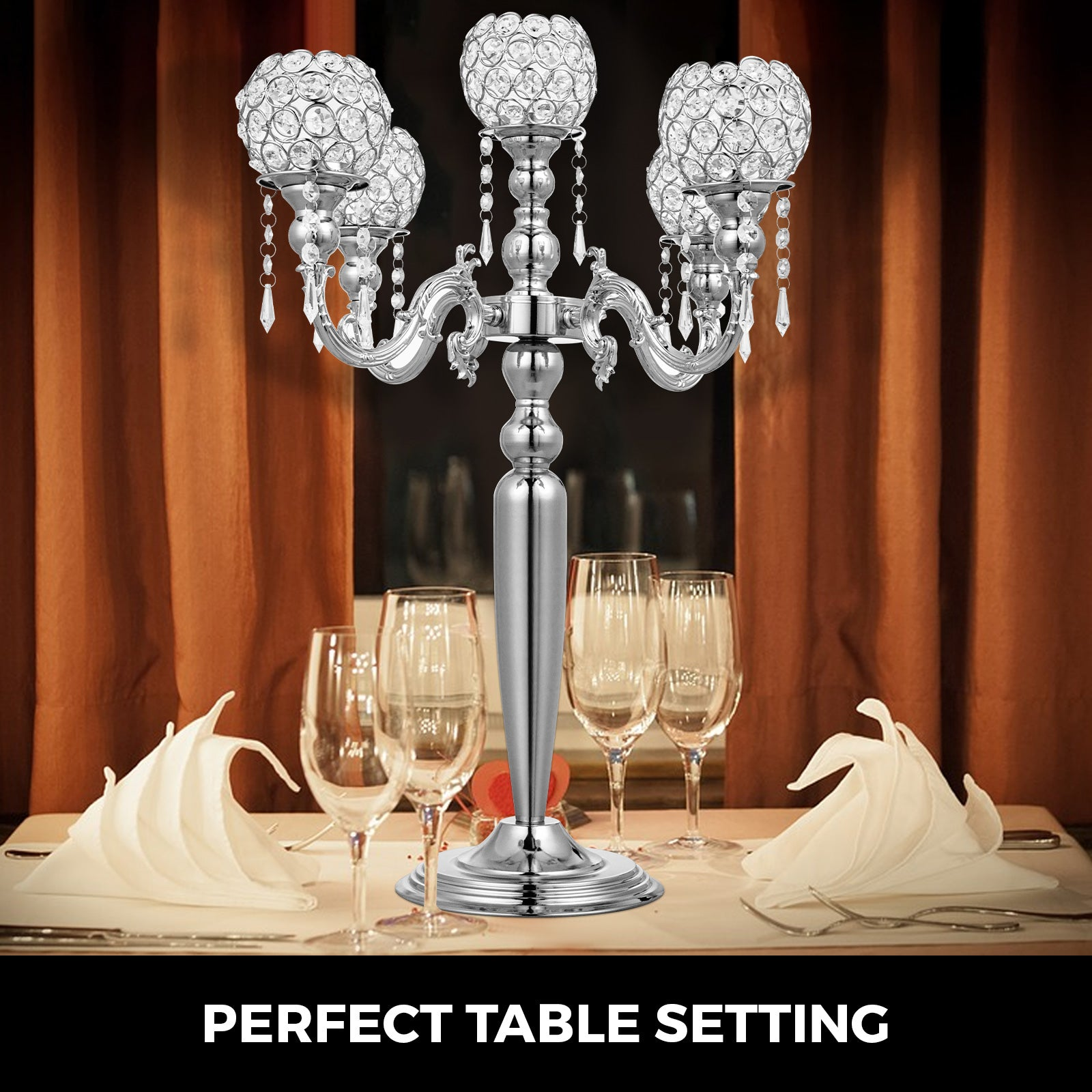 Wedding Candle Holder 5 Arms Candelabra Chandelier Crystal Votive Silver Decor