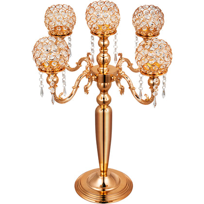 Wedding Candle Holder 5 Arms Candelabra Chandelier Crystal Votive Gold Decor