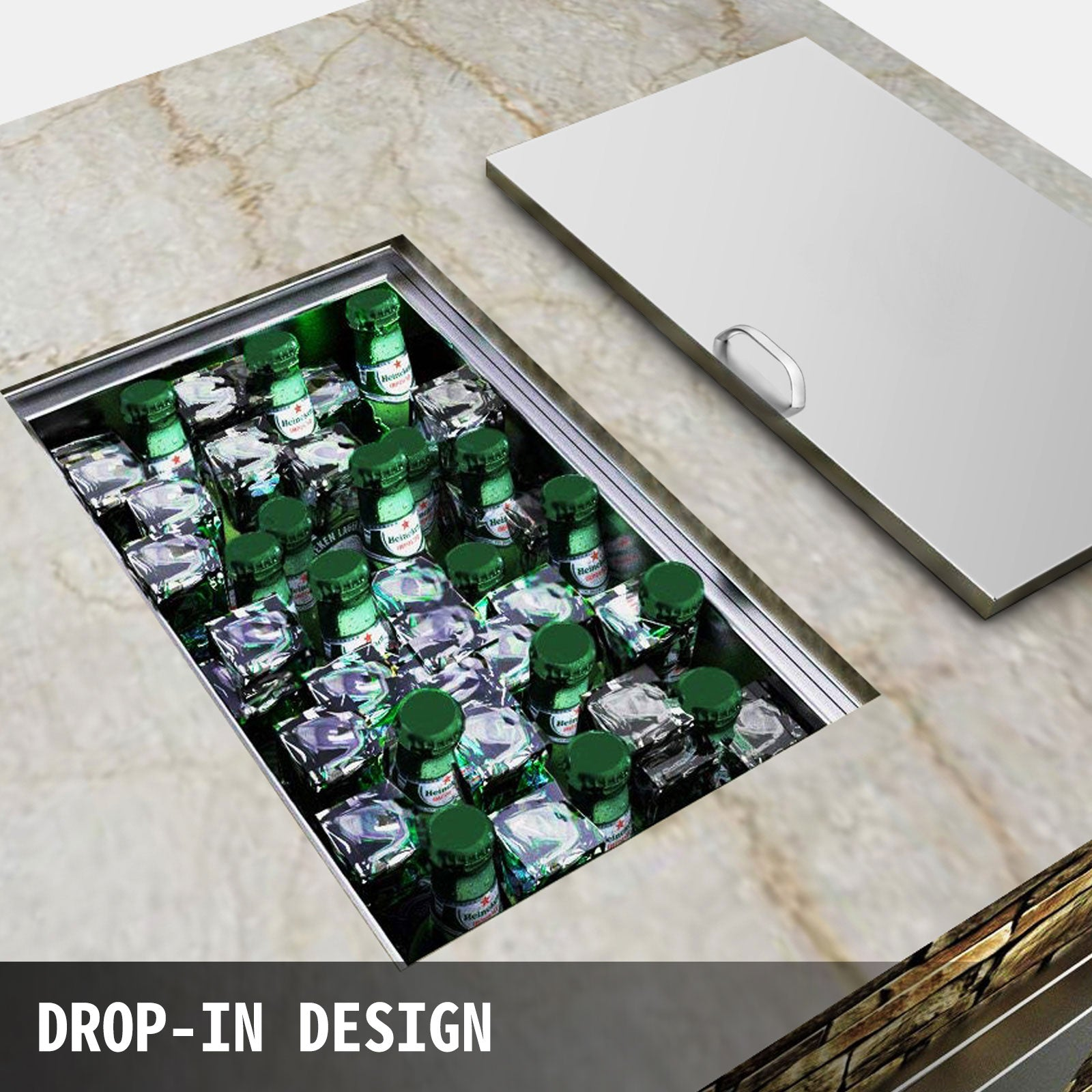 Drop In Ice Chest Bin Kitchen 58x43 Cm Beer Ice Box W/thick Lid Outdoor/indoor
