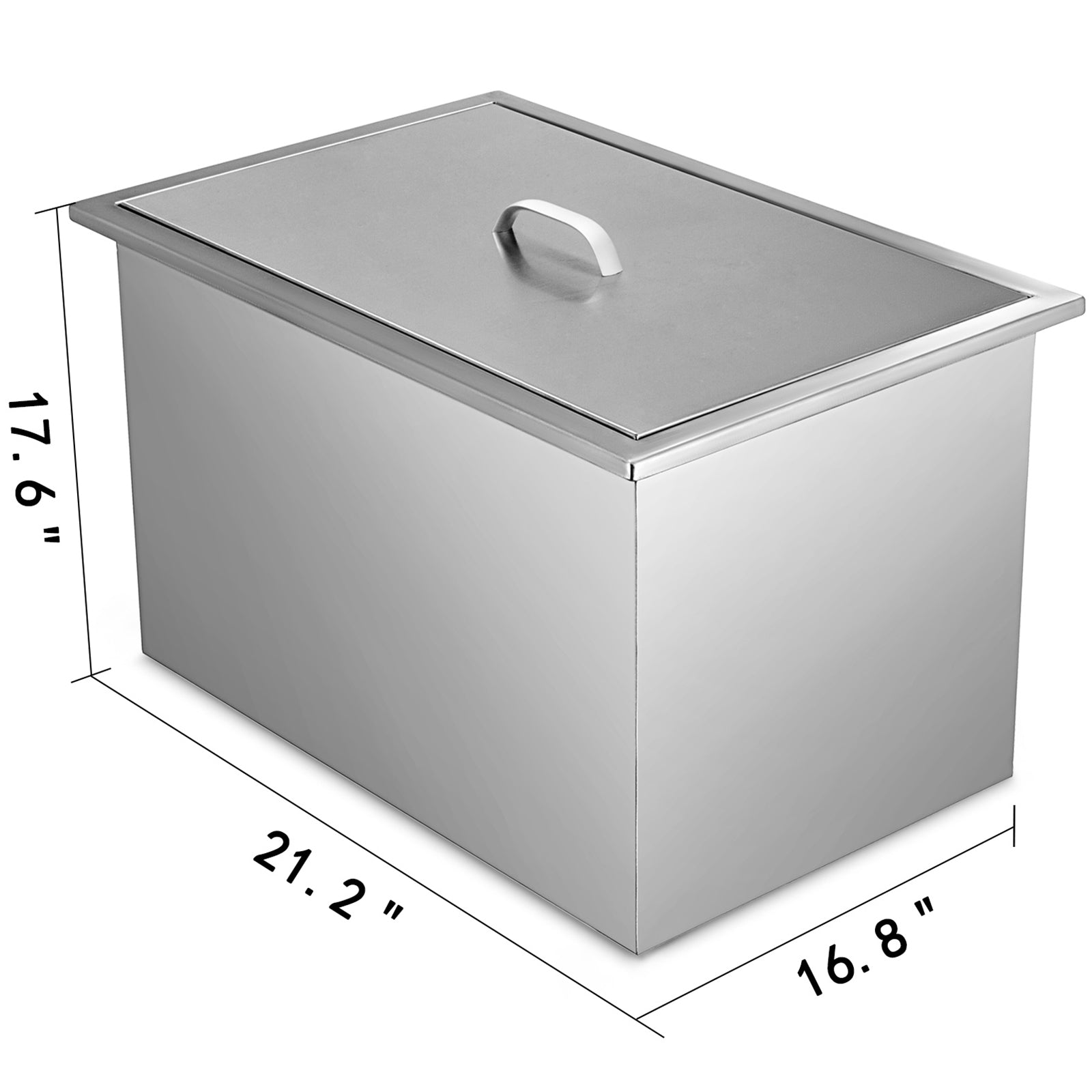 53*44 Cm Drop In Ice Chest Bin With Cover Beer Beverage Stainless Steel Cooler