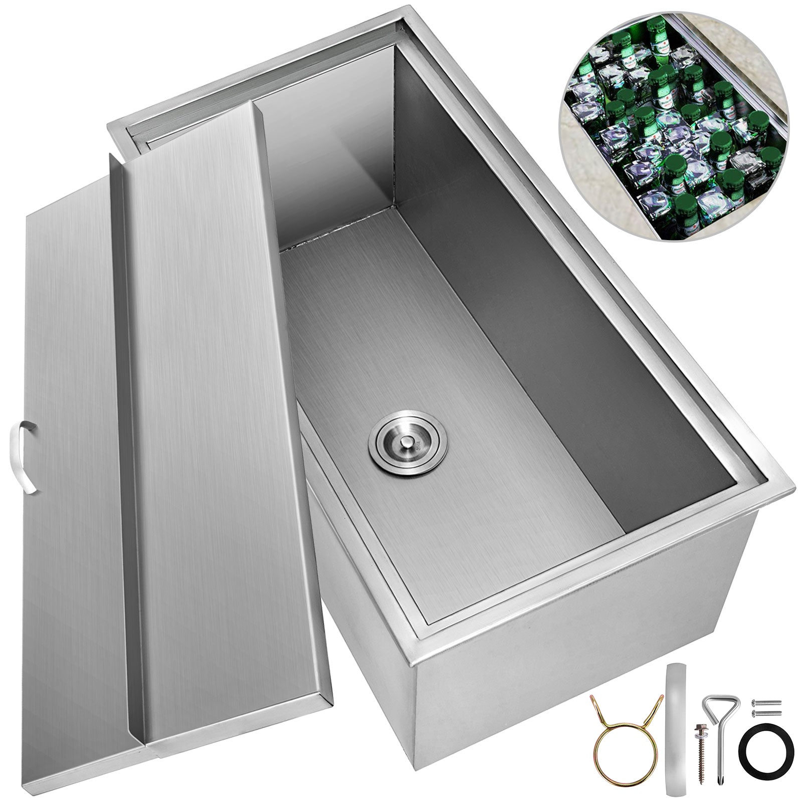 91*45 Cm Bbq Island Stainless Steel Drop In Ice Chest/cooler W/drain Valve