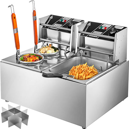Vevor 20l Electric Deep Fat Chip Fryer Non Stick Pan & Safe Basket Handle 2.5kw
