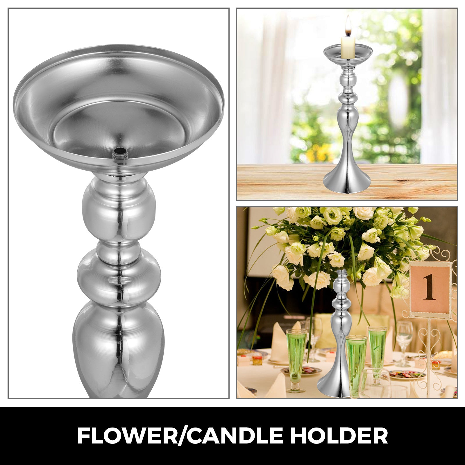 Flower Rack For Wedding Metal Candle Stand 11pcs Silver Centerpiece Flower Vase