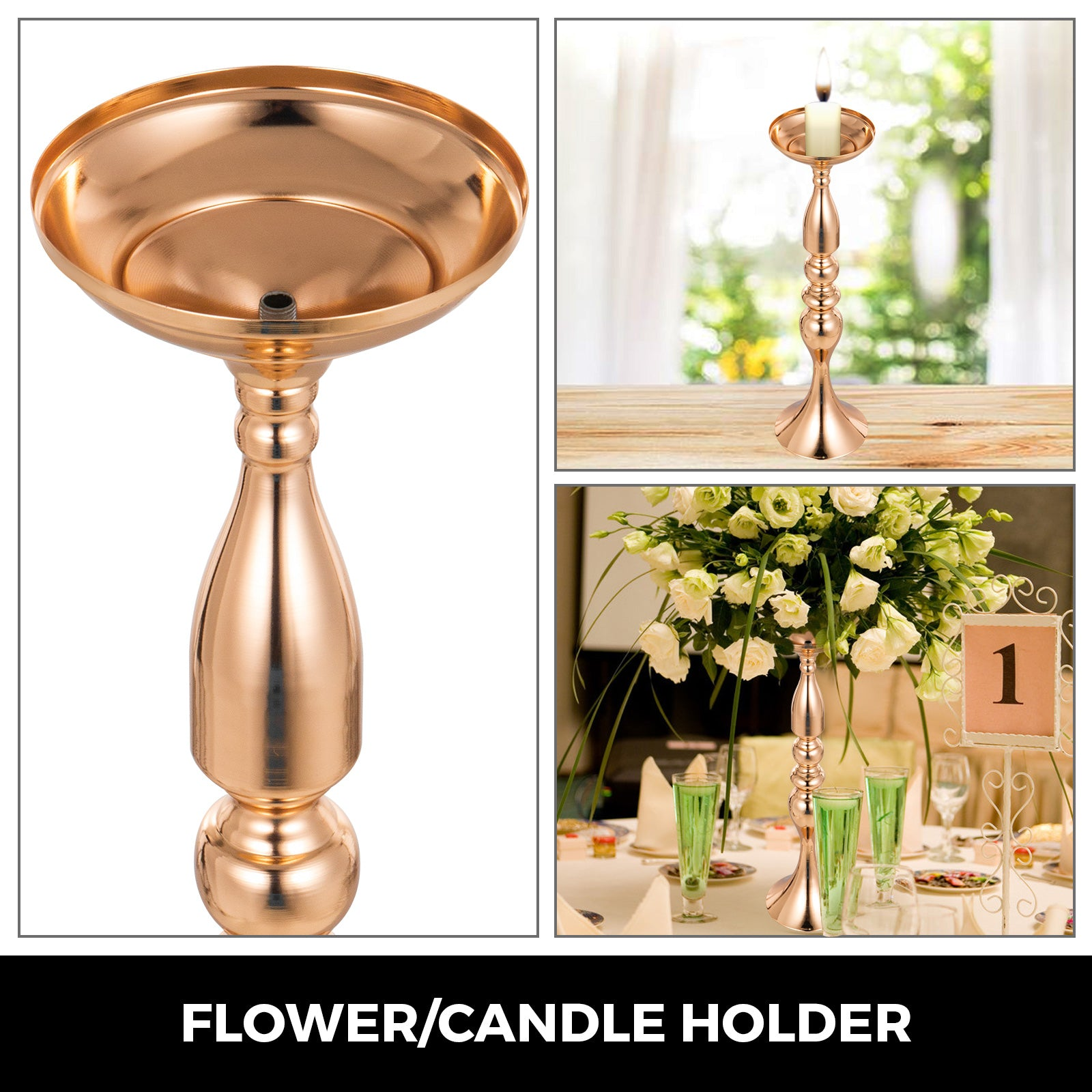 "Gold Centerpieces For Wedding Candle Holder 11pcs Flower Rack Vase 19.6"" Height"