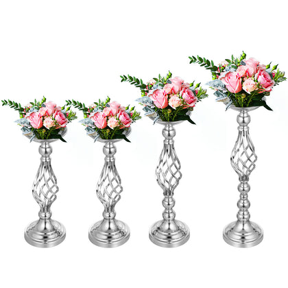 Flower Rack For Wedding Metal Candle Holders 4pcs Silver Centerpiece Flower Vase