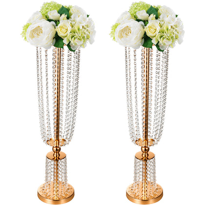 Wedding Centerpieces Crystal Flower Holder Wedding Table 2pcs Flower Stands Vase