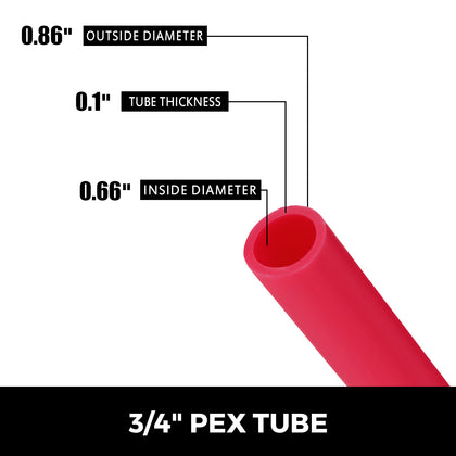 Pex Water Tubing Pipe Non-barrier Hose For Radiant Floor Heat Red 3/4