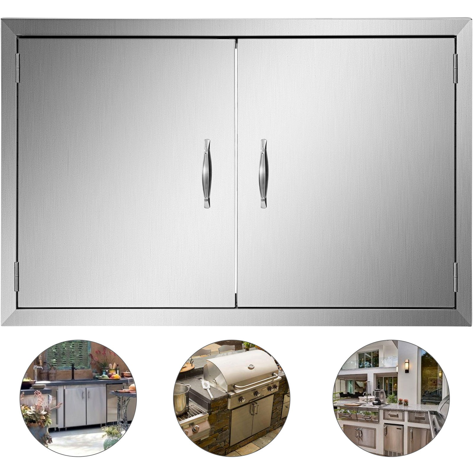 "Walled Bbq Island Doors 30.5""h X 21''w + Ss Handles Grill Kitchen"