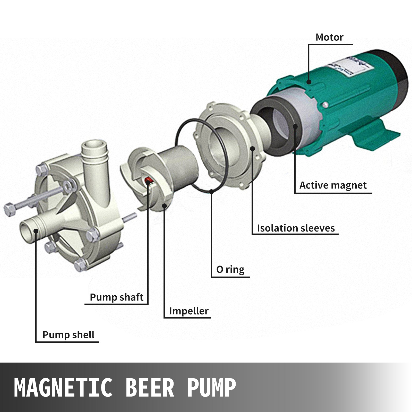 Techlifer Beer Pump Food Grade Stainless Steel Head Magnetic Brewing Beer Pump