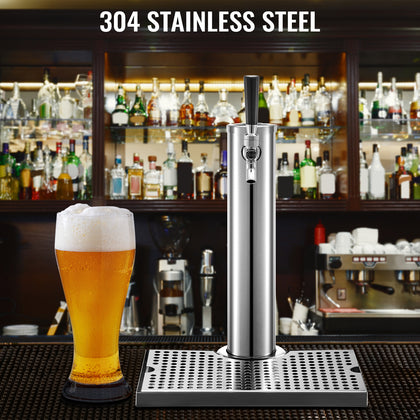 Vevor Beer Tower Kegerator Tower 1 Faucet Beer Tower Stainless Steel Drip Tray