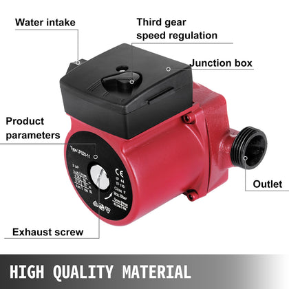 40/60/75 W Central Heating Circulator Pump For Hot Water Heating System