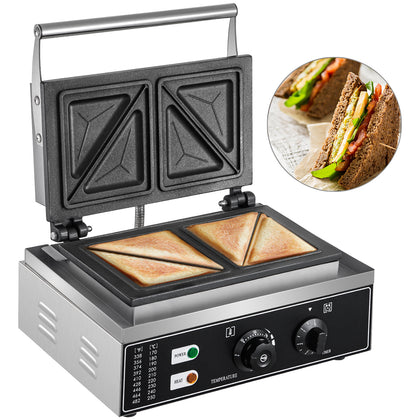 Vevor Commercial Grill Panini Sandwich Maker Press Stainless Heavy-duty Triangle
