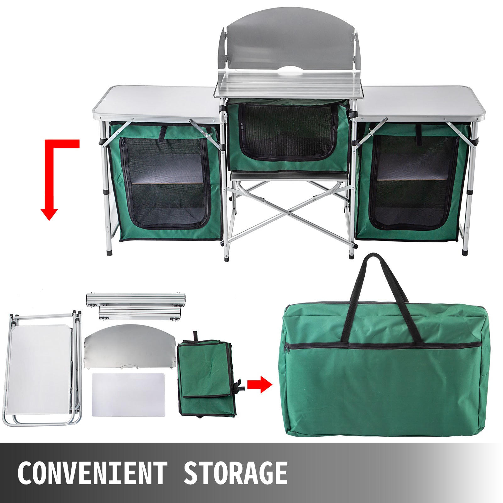 Folding Camping Kitchen Outdoor Cabinet Stand Storage Windshield Cooking Table