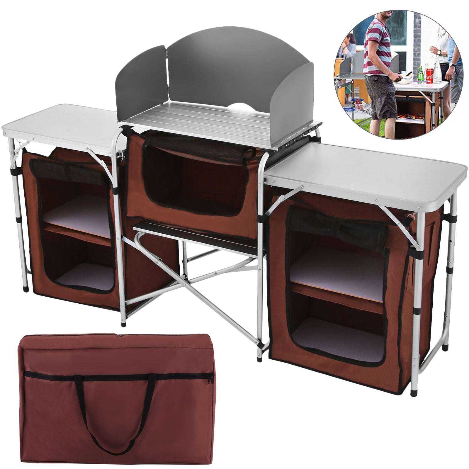 Camping Kitchen Stand Portable Cooking Cabinet Storage ...
