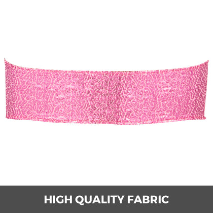 Chair Sashes Spandex Chair Sashes 100pcs Pink Elastic Sequin Bands For Wedding