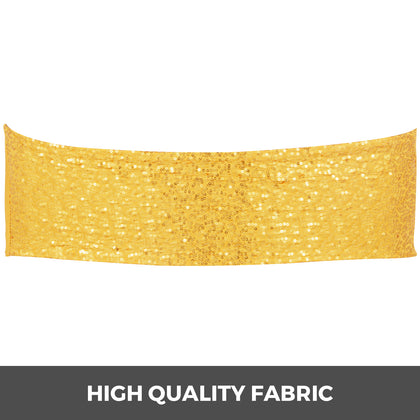 Chair Sashes Spandex Chair Sashes 100pcs Bright Gold Elastic Sequin Bands Gold