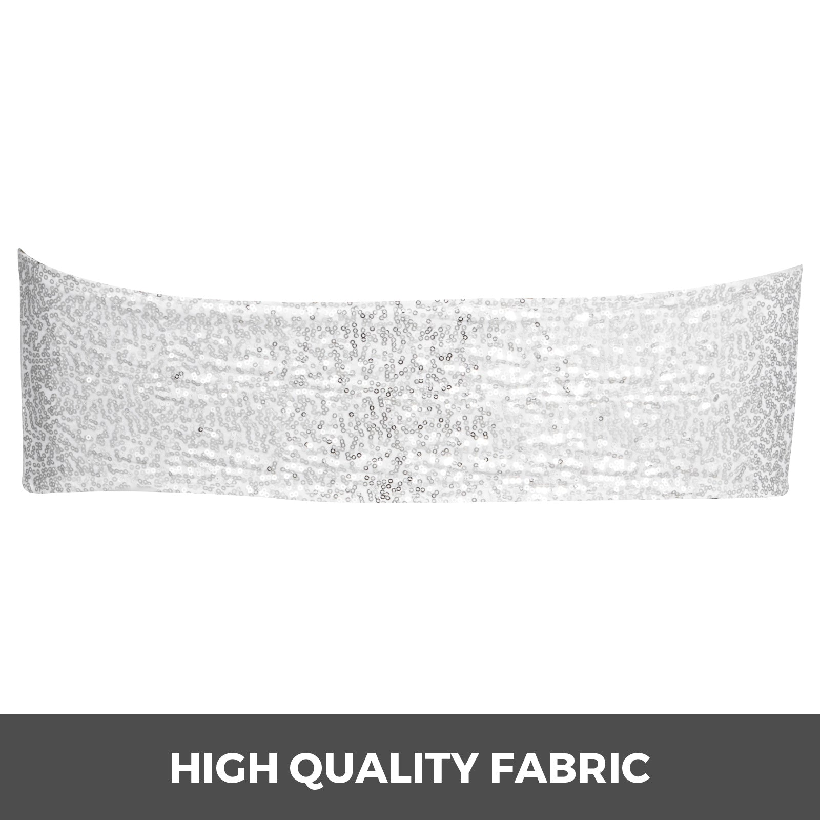 Chair Sashes Spandex Chair Sashes 100pcs Silver Elastic Sequin Bands For Wedding