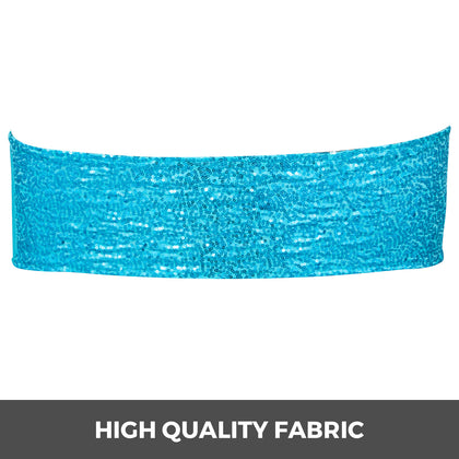Chair Sashes Spandex Chair Sashes 100pcs Blue Elastic Sequin Bands For Wedding