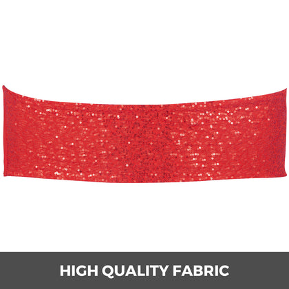 Chair Sashes Spandex Chair Sashes 100pcs Red Elastic Sequin Bands For Wedding