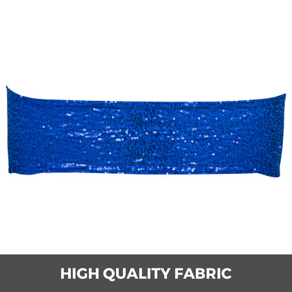 100 Pcs Spandex Sequin Chair Cover Bow Royal Blue Wedding Banquet Band Cover