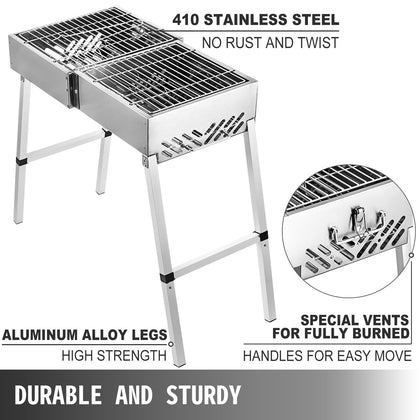 Folding Bbq Charcoal Barbecue Grill 24'' Party Foldable Garden Strong Packing