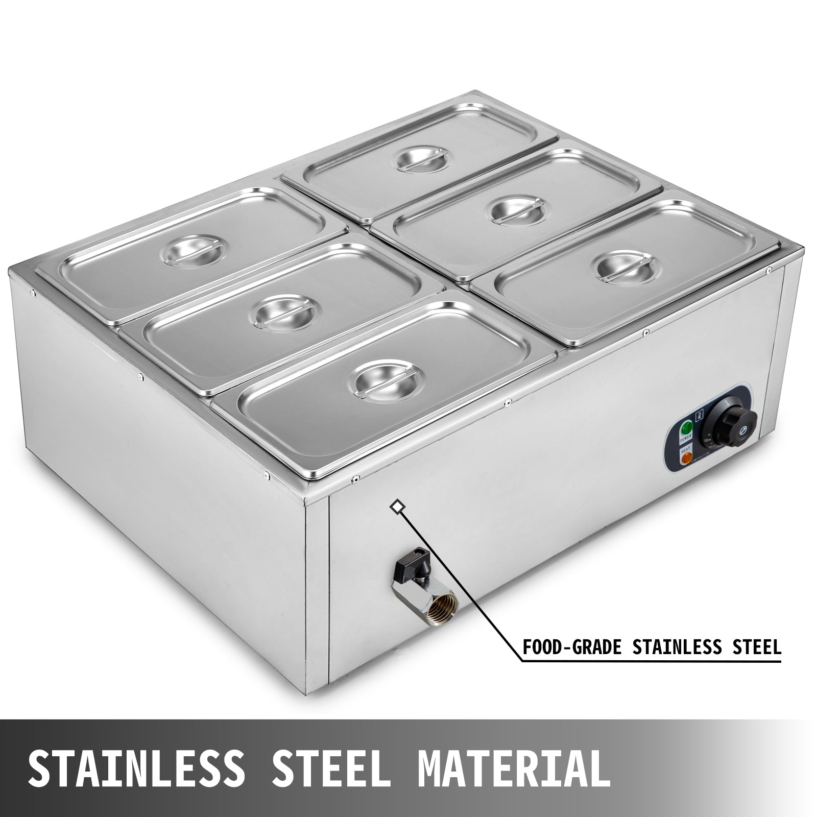 6-pan Food Warmer Steam Table Steamer Electric Bain-marie Catering Kitchen