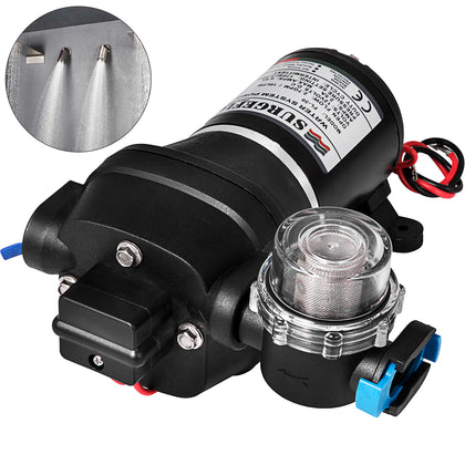 17psi Pressure Diaphragm Water Pump Marine Agriculture With Filter 12v 10l/min