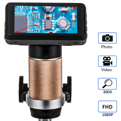 Hdmi Digital Microscope For Pcb Repair Adsm201 3mp 10x-300x Magnification 1080p