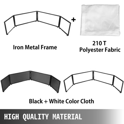 Dj Event Facade 15.7x106.3inch Foldable Dj Booth Euippment White And Black Scrim