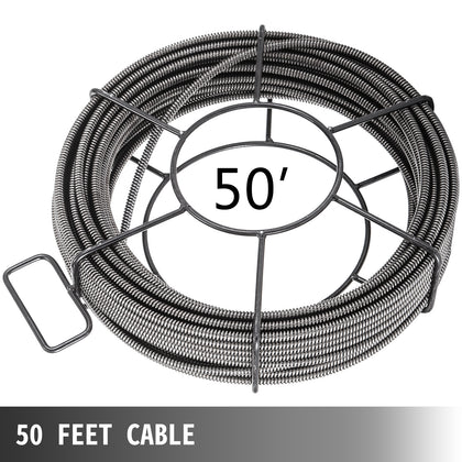 Drain Cleaning Cable 50ft 1/2in Sewer Cable 15m Plumbing Cable Auger Snake Pipe
