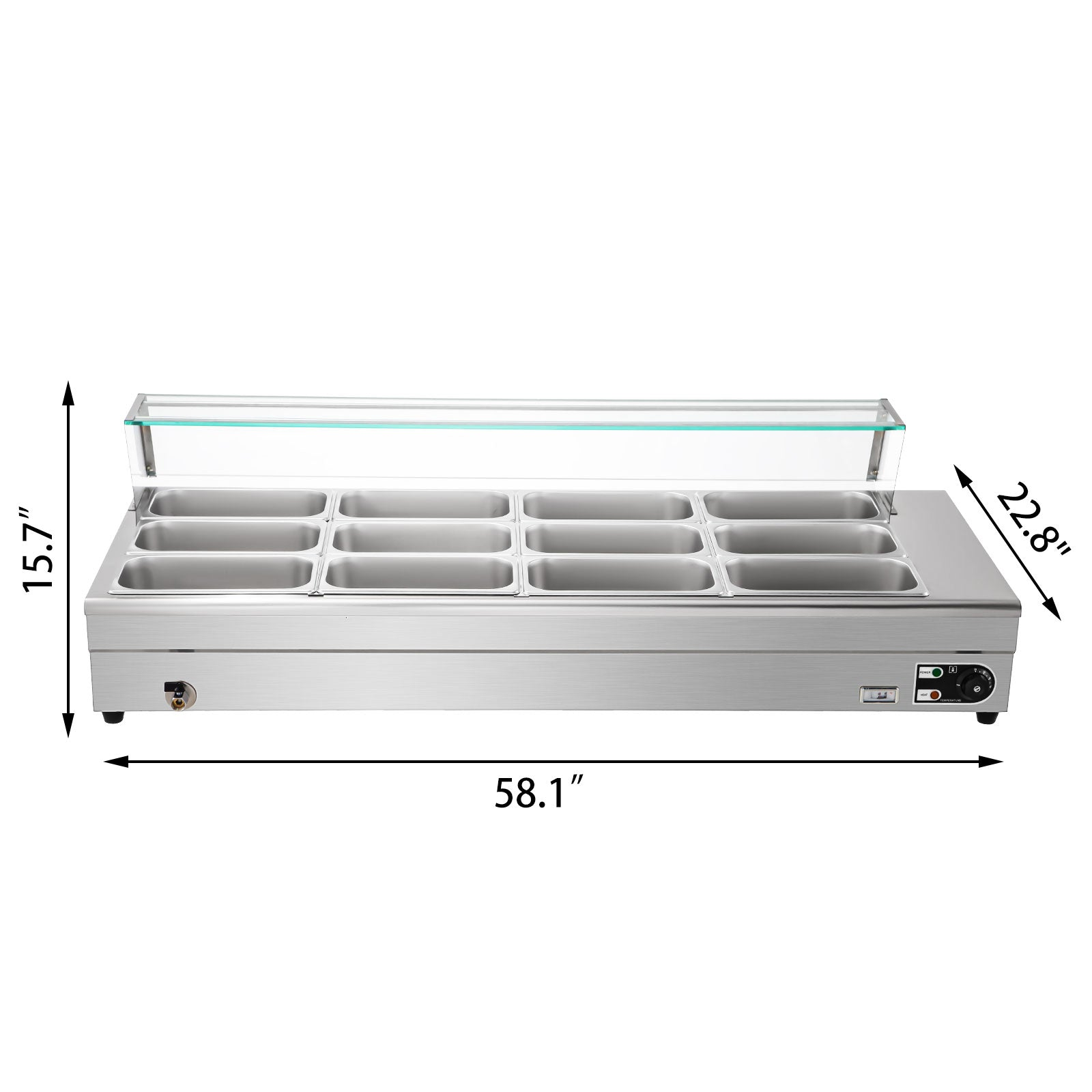 Bain Marie Food Warmer, Commercial Food Steam Table, 12 Pans, With Glass Shield